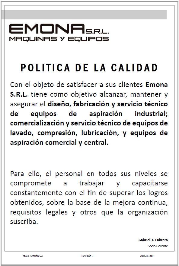 Política de Calidad 2016